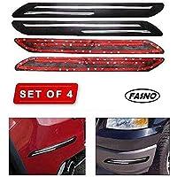 FASNO Bumper Protector Car Rubber Guard with Double Chrome Strip Car 4Pcs(Black) Compatible All Cars