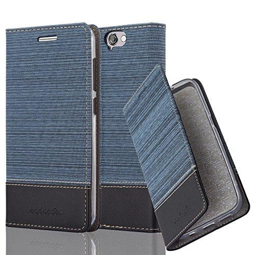 Cadorabo Hülle für HTC ONE A9 - Hülle in DUNKEL BLAU SCHWARZ - Handyhülle mit Standfunktion & Kartenfach im Stoff Design - Case Cover Schutzhülle Etui Tasche Book