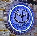 NEONUHR NEON CLOCK - MAZDA GARAGE WERKSTATT UHR MIT BLAUEN NEON RING! ERHÄLTLICH AUCH MIT ANDEREN NEON FARBEN!