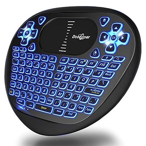 Mini Tastatur mit blaue LED Hintergrundbeleuchtung / Dootoper 2.4 GHz wireless mini Keyboard mit Touchpad-Maus/94 Tasten/10 Meter Reichweite/Scrollrad-Funktion /geeignet für Smart TV, Android TV Box, HTPC, IPTV, XBOX360, PC, PAD, PS3, Tablets usw.(Schwarz)