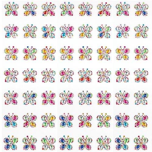 Baker Ross Joyas acrílicas Autoadhesivas de Mariposas con Colores del arcoíris para Que los niños decoren y personalicen Tarjetas y Manualidades (Pack de 20)