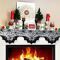 Aytai lace araña murciélagos mantel bufanda, manta de la chimenea de tela de araña única bufanda para decoración de la fiesta de decoración de Halloween chimenea, 80inch x 20inch negro