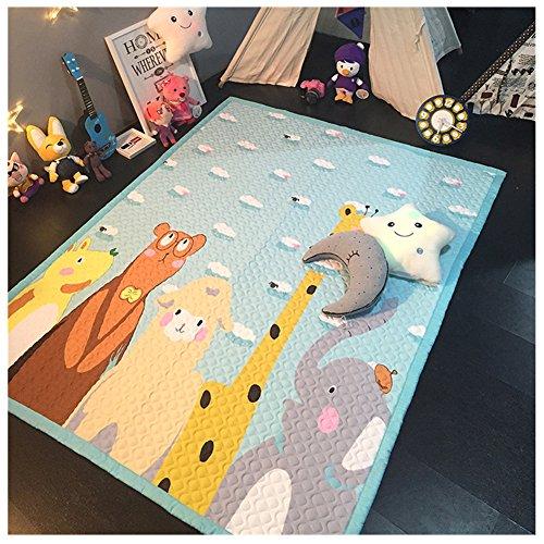 Kinder Erwachsener Cartoon Tier faltbare Baumwollstoff Bodenmatte Sportmatte kriechende Matte Anti-Rutsch-Matte Zelt Matte Teippich (Giraffe Elefant)
