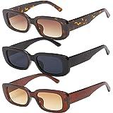 Lidiper 3 Stück Vintage Rechteckige Sonnenbrille für Damen, UV 400 Brille Retro Quadrat Brillen Mode Sonnenbrille für Reise,