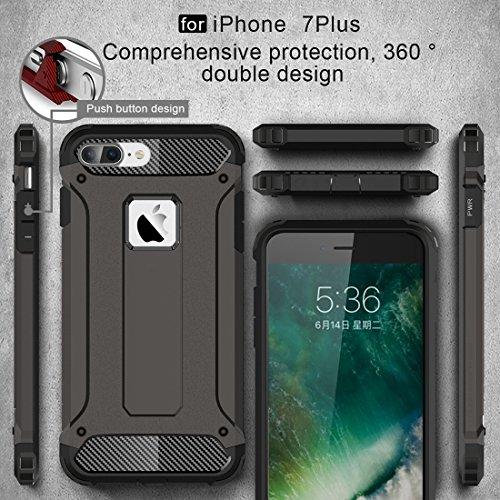 Hülle für iPhone 7 plus , Schutzhülle Für iPhone 7 Plus Tough Armor TPU + PC Kombi-Gehäuse ,hülle für iPhone 7 plus , case for iphone 7 plus ( Color : Dark Blue ) Coffee