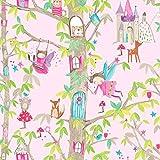 Arthouse Wald Feen Glitzer Kinder Tapete - Rosa 667000
