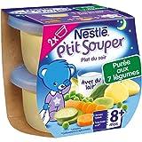 Nestlé Bébé P'tit Souper Purée du Soir aux 7 Légumes - Plat Légumes et Féculents dès 8 Mois - 2 x 200g - Lot de 8