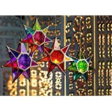 Collectible India Metal Multi Colored Glass 7 Star Points Moroccan Style Hanging Candle Holders | Tealight Candles Holder Lanterns Wall Lamp For Home Decor & Lighting Accessories-1Pcs