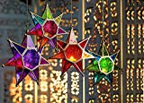 #9: Collectible India Metal Multi Color Glass Star Moroccan Style Hanging Candle Holders | Tealight Candles Holder Lanterns Wall Lamp - 1 Pcs