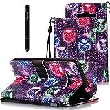 Slynmax Leder Tasche Hülle Kompatibel mit Samsung Galaxy Grand Prime G530 Hülle Lanyard Flip Wallet Case Brieftasche Lederhülle Slim Ledertasche Handyhülle Handytasche Kartenfach,Kleines Monster