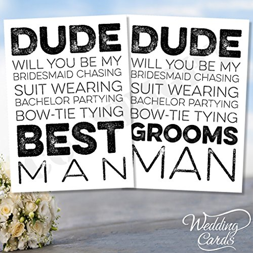 Will You Be My Best Man Usher Groomsman Page Boy Ring der BRO Dude Völlig Laden Karte Postkarte Braut Bräutigam Hochzeit Zeremonie jeder Größe Farbe personalisierbar jeder Text A4 A5 A6 A7 (Anzüge Usher)
