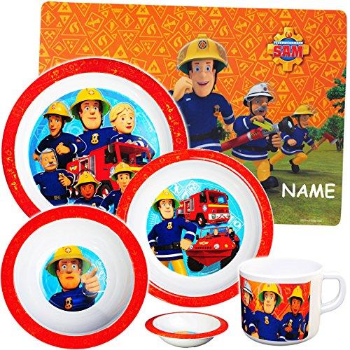 5 tlg. Geschirrset - ' Feuerwehrmann Sam Jones ' - inkl. Name - aus Melamin - ..