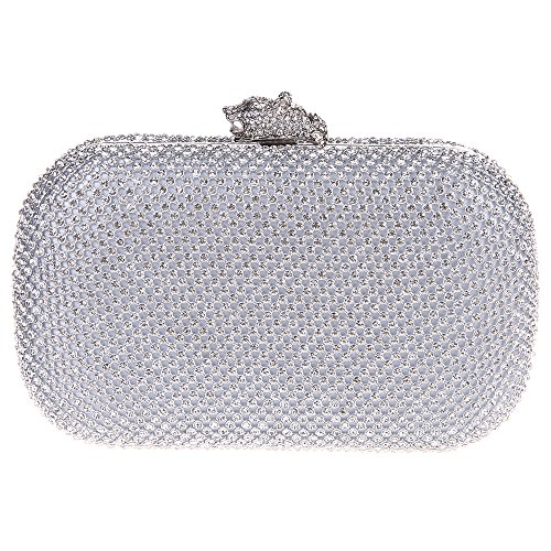 Bonjanvye Leopard Head Clutch Purse Party Clutches And Evening Bags Silver