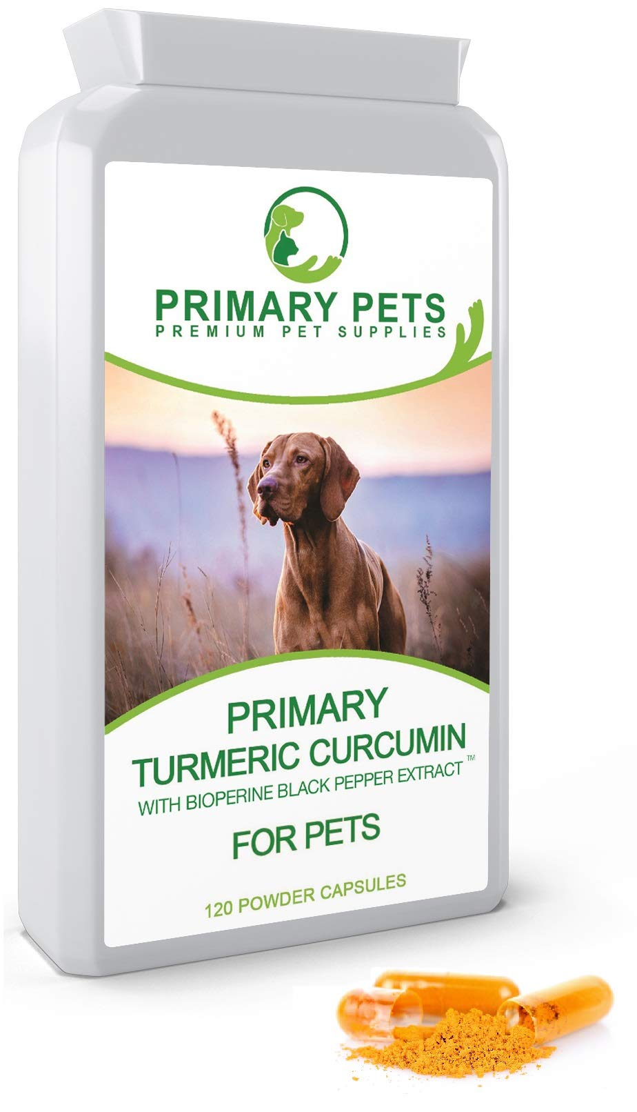 Primary Pets Turmeric for Dogs (120 500mg Caps) Joint Supplement for Dogs with Bioperine for 10000mg eq Absorbsion