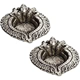 Aapno Rajasthan Triple Ganesh Face Diya Made In Pure Metal With Antique Finish (Set Of 2)