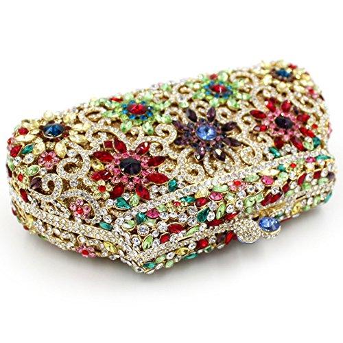 Damen Clutch Abendtasche Handtasche Geldbörse Glitzertasche Strass Kristall Sonnenblume Tasche mit wechselbare Trageketten von Santimon(8 Kolorit) Mehrfarbig 03