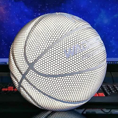 XIAOMING Ballon de Basketball Lumineux Fluorescent pour intérieur Blanc