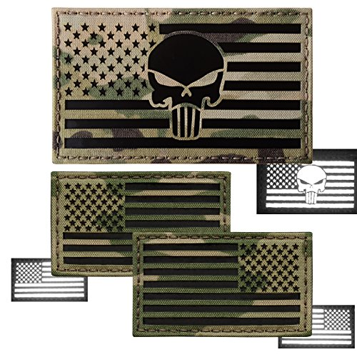 Bundle Set of 3 Multicam Infrared USA American Flags Forward and Reversed Punisher Skull Tactical Backpack Molle Touch Fastener Patches (Usa Molle Patch)