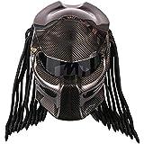 Black Iron Warrior Casco del Motociclo Creativo Casco Integrale con Lenti antinebbia personalit/à della Treccia dei Capelli e Luce Certificato di Sicurezza D.O.T LED Predator Casco