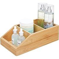 mDesign caisse de rangement en bambou – grande boite en bois avec trois compartiments pour cosmétiques, maquillages et…