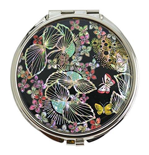 Miroir de poche vintage, décors de nacre naturelle. Double miroir 1x grossissant. Artisanat de luxe Coréen