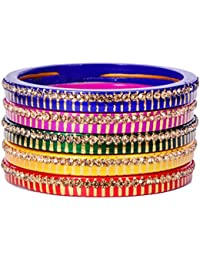 Dulari Stone Embellished Multicolored Lac Round Rajputi Bangles For Women (Set Of 10 Bangles)