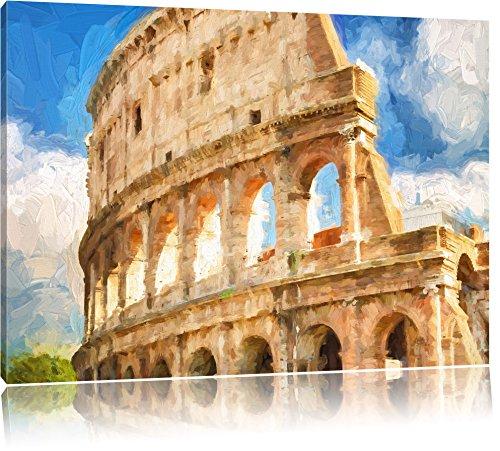 Kolosseum in Rom Pinsel Effekt, Format: 120x80 auf Leinwand, XXL riesige Bilder fertig gerahmt mit Keilrahmen, Kunstdruck auf Wandbild mit Rahmen, günstiger als Gemälde oder Ölbild, kein Poster oder Plakat