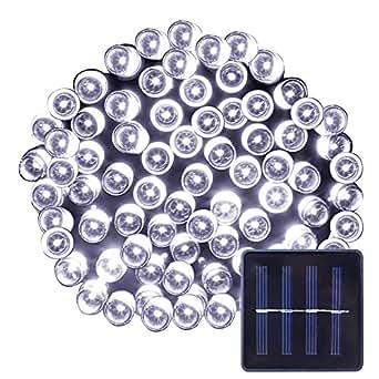 Le LED solaire Guirlande lumineuse Guirlande solaire, 17mètres, étanche, 100LEDs, 1.2V, Blanc Lumière du Jour, portable, avec capteur de lumière, guirlande lumineuse extérieure, éclairage, éclairage de Noël pour mariage, Party