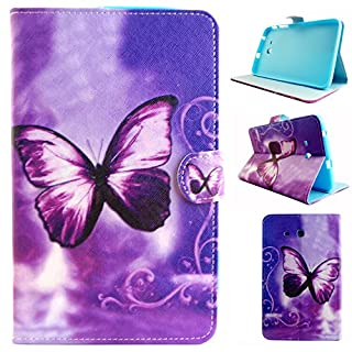 Galaxy Tab 3 Lite 7.0 inch SM-T110/T111/T113 Tablet Flip Case,Asnlove Shell The Ultra Thinnest and Lightest PU Leather and TPU Magnetic Flip Folio Wallet with Card Holders Slots Stand Cover Protective Case For Samsung Galaxy Tab 3 Lite 7.0 inch SM-T110/T111/T113-Purple Butterfly Dream Pattern