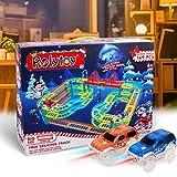 Magic Twister Glow Tracks Race Tracks mit 2 LED Autos Toys für Kinder ab 3 4 5 6 7 Jahre Auto Rennbahnen Spielzeug zu Weihnachten, Geburtstag als Geschenk Einbauen des Viaduktes bis zu 3 Stock