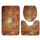 Badematten Set Clode® 3 STÜCKE Kreative Holz Muster Rutschfeste Toilettensitzabdeckung und Teppich Badezimmer Set Decor (A)