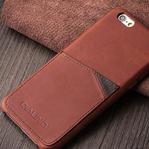 iPhone 6,6s, 6Plus, 6S Plus Schutzhülle Ultra Slim Bumper, Schutzhülle, Rückseite aus echtem Leder für 11,9cm Apple Telefon, qialino Handmade Weich und Displayschutzfolie mit Rücken Schlitz für Karte iphone6s Coffee