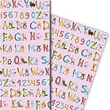 Niedliches Kinder Geschenkpapier mit englischem Alphabet für tolle Geschenk Verpackung und Überraschungen (4 Bogen, 32 x 48cm), auf rosa