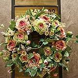 SogYupk, Frühlingstür-Kränze, 40cm, natürliches Aussehen, künstliche Seidenrose, für Zuhause, Küche, Hochzeit, Feste, Innenräume Champagne and rose green