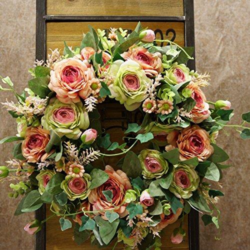 sogyupk 40cm Spring vorne Tür Kränzen natürlich aussehende Moderne Deko Künstliche Seide Rose Blumen Girlande für Home Kitchen Hochzeit Festive Innen Champagne and rose green