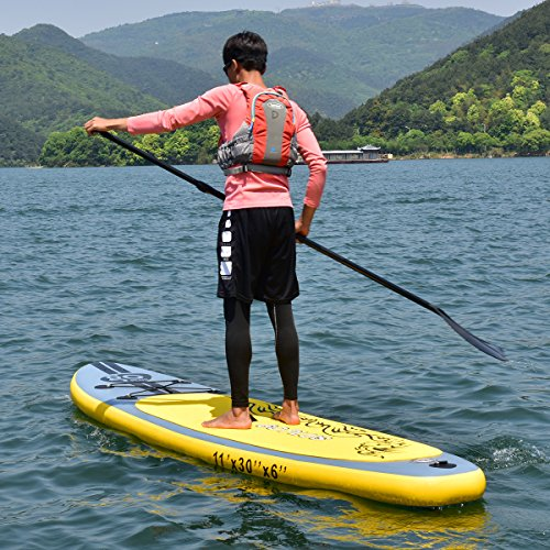 61Gt%2BsevRlL. SS500  - COSTWAY 10FT/11FT SUP Inflatable Stand Up Paddle Board W/Carry Bag, Repair Kit, Tail Vane, Adjustable Paddle, Hand Pump with Pressure Gauge, Ideal Beginners Soft Surfing Board Kit