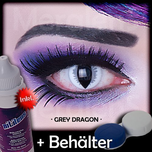 Meralens A0415 Grey Dragon Kontaktlinsen mit Pflegemittel mit Behälter ohne Stärke, 1er Pack (1 x 2 (Erwachsene Maske Kostüme Reptil)