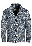!Solid Prewitt Herren Strickjacke Cardigan mit Schalkragen aus 100% Baumwolle Meliert, Größe:L, Farbe:Insignia Blue (1991)