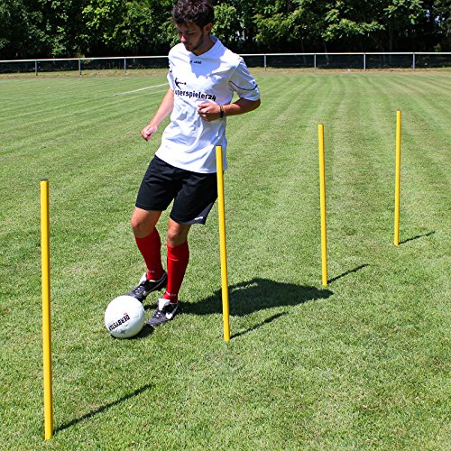 Superspieler24 Slalomstange 100 cm mit Metallspitze, ø 32 mm (gelb), Fußballtraining