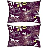 Pack of 2 Birds And Bird Cages Seamless Pattern Rectangle Toss Throw Pillow Cushion Cover Decoarative Pillow Cover 14 x 7'