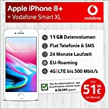 Apple iPhone 8 Plus (Silber) mit 64 GB internem Speicher, Vodafone Smart XL inkl. 11GB Highspeed Volumen mit Max 500 Mbits, inkl. Telefonie- und SMS Flat, EU-Roaming, 24 Monate Min. Laufzeit, mtl.
