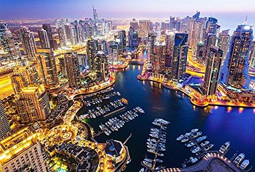 Preisvergleich Produktbild Puzzle 1000 Teile - Dubai bei Nacht - Vereinigte Arabische Emirate VAE - Emirat - Stadt - City - Hochhäuser / Wolkenkratzer - Urlaub Städtereise - Reisen - Weltstadt - Foto Motiv