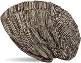 styleBREAKER warme Feinstrick Checked Beanie Mütze mit Flecht Muster Uns sehr weichem Fleece Innenfutter, Unisex 04024090, Farbe:Beige-Braun