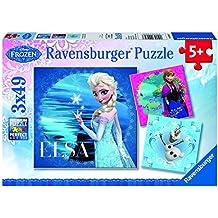 Frozen - Disney, Elsa, Anna y Olaf, puzzle de 3 x 49 piezas (Ravensburger 9269)