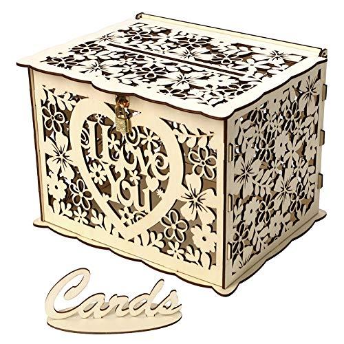 ochzeit Karte Box, rustikale Vintage Floral Hollow Hochzeitswünsche Post Box mit Schloss für Hochzeiten Empfänge Geburtstage Graduierungen Baby Duschen Party Decor ()