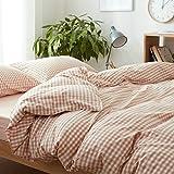 Wiss home Plaid Cotton Bettbezug, Plain Reversible Bettbezug Anti-Falten-Hypoallergen Bettdecke Bettwäsche Einzelstück-A-200x230cm(79x91inch)