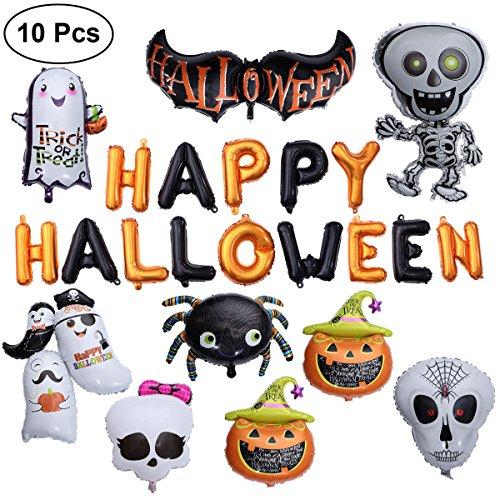 Toymytoy happy halloween foil balloons set - zucca gigante, ragno, scheletro danzante, fantasma, pipistrello - confezione da 10 pezzi