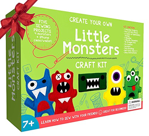 little-monsters-beginners-sewing-kit-awesome-gift-for-girls-boys-ages-7-to-13-best-educational-craft