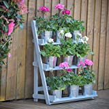 Plant Theatre - Three Tier Hardwood Herb & Plant Theatre in Powder Blue - Great Fathers Day Gift (Garden & Outdoors)