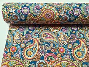 Motif cachemire Bleu Rideau Ameublement coton tissu–Double Largeur 280cm/279,4cm–Vendu au Mètre